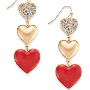 INC Gold-Tone Pave Triple-Heart Red Drop Earrings